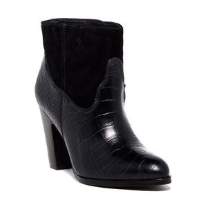 MATISSE Done N Dusted Croc Embossed Black Booties